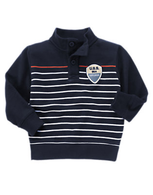 Midnight Blue Stripe Sea Explorer Stripe Fleece Pullover by Gymboree