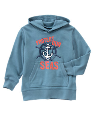Boys Anchor Blue Protect Our Seas Hoodie by Gymboree