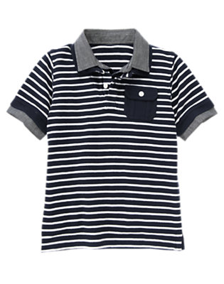 Boys Midnight Blue Stripe Chambray Collar Stripe Pique Polo Shirt by Gymboree