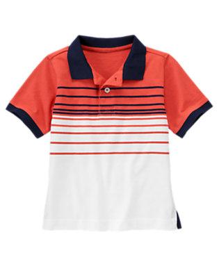 Boys Submarine Orange Stripe Polo Shirt by Gymboree
