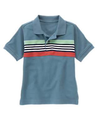 Boys Anchor Blue Chest Stripe Pique Polo Shirt by Gymboree