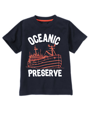 Midnight Blue Oceanic Preserve Ship Tee by Gymboree
