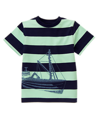 Boys Scuba Green Stripe Stripe Ship Tee by Gymboree