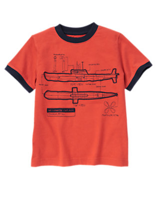 Boys Submarine Orange Submarine Diagram Tee by Gymboree