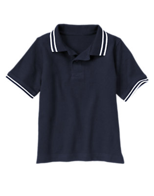 Boys Midnight Blue Tipped Pique Polo Shirt by Gymboree