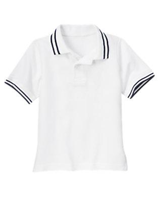 Boys White Tipped Pique Polo Shirt by Gymboree