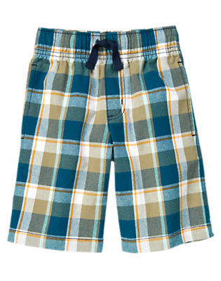 Dark Teal Plaid Drawstring Plaid Short by Gymboree