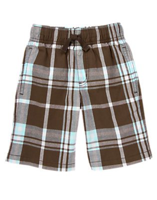 Chocolate Brown Plaid Drawstring Plaid Short by Gymboree
