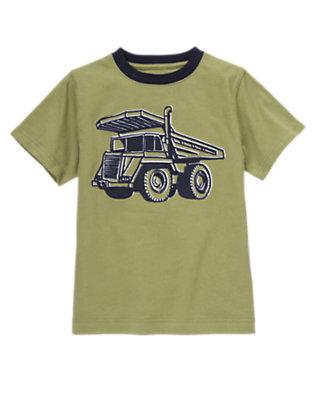 Boys Green Khaki Dump Truck Ringer Tee by Gymboree