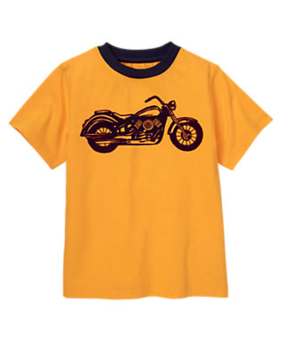 Boys Bright Orange Motorcycle Ringer Tee by Gymboree