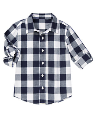 Boys Midnight Blue Check Roll Cuff Checked Shirt by Gymboree