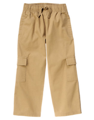 Boys Khaki Drawstring Canvas Cargo Pant by Gymboree