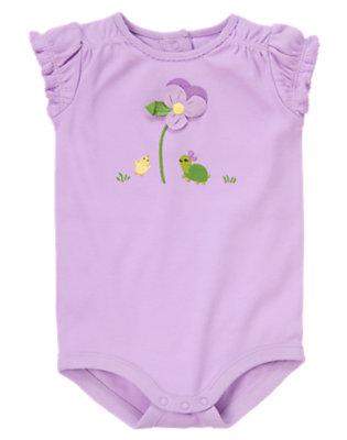 Baby Purple Petal Flower Turtle Bodysuit by Gymboree