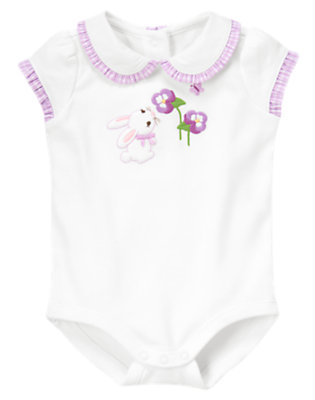 White Bunny Collar Bodysuit by Gymboree