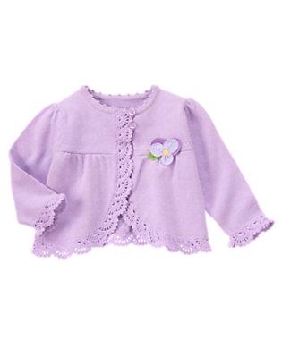 Baby Purple Petal Flower Sweater Cardigan by Gymboree