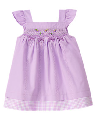 Baby Purple Petal Smocked Bow Dress by Gymboree