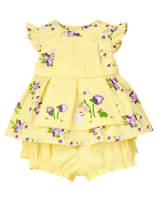 Baby Golden Sun Floral Embroidered Apron Two-Piece Set by Gymboree