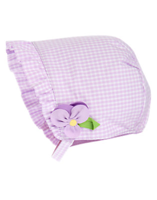 Purple Petal Gingham Bonnet Hat by Gymboree