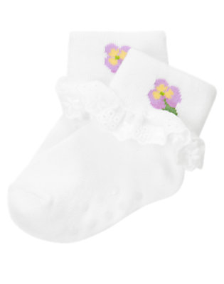 Baby White Flower Ruffle Sock by Gymboree