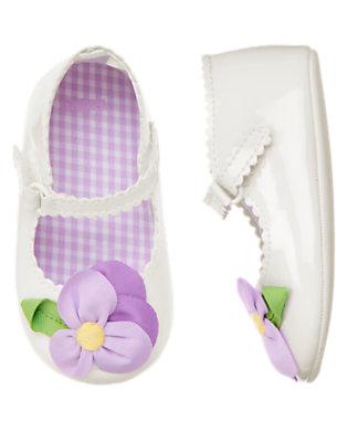 Baby White Flower Patent Crib Shoe by Gymboree