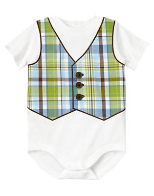 Baby White Plaid Vest Bodysuit by Gymboree