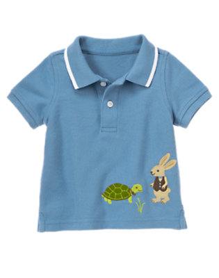 Steel Blue Turtle & Rabbit Polo Shirt by Gymboree