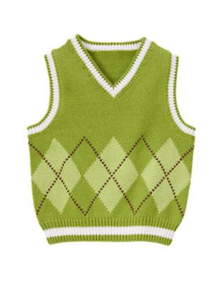 Bright Turtle Green Argyle Sweater Vest by Gymboree