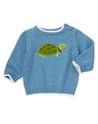 Baby Steel Blue Turtle Sweater by Gymboree