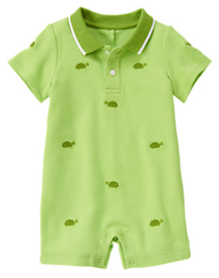 Baby Light Turtle Green Turtle Embroidered One-Piece by Gymboree