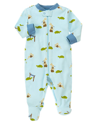 Light Steel Blue Turtle & Rabbit Footed One-Piece by Gymboree