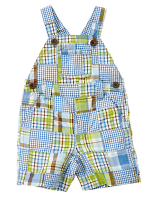 Baby Steel Blue Patchwork Plaid Patchwork Shortall by Gymboree