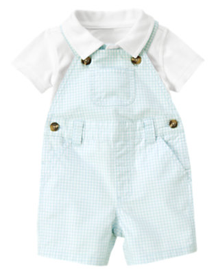 Baby Cloud Blue Check Gingham Shortall Two-Piece Set by Gymboree