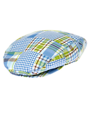 Steel Blue Plaid Plaid Patchwork Cap by Gymboree