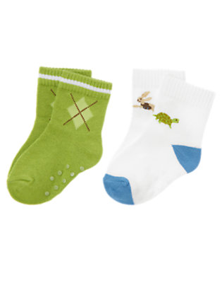 White/Bright Turtle Green Turtle Argyle Sock Two-Pack by Gymboree
