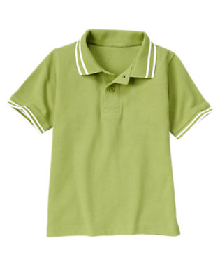 Boys Green Apple Tipped Pique Polo Shirt by Gymboree