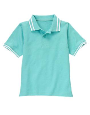 Boys Sea Blue Tipped Pique Polo Shirt by Gymboree