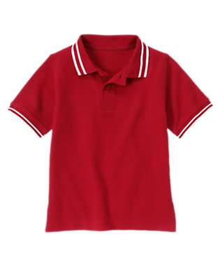 Boys Baseball Red Tipped Pique Polo Shirt by Gymboree