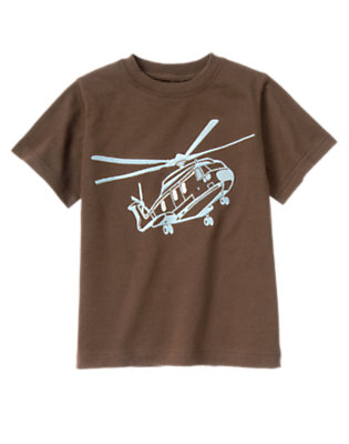 Boys Chocolate Brown Helicopter Tee by Gymboree
