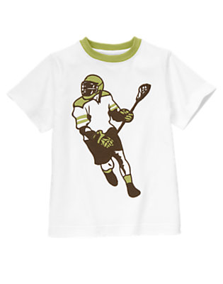 Boys White Lacrosse Player Ringer Tee by Gymboree