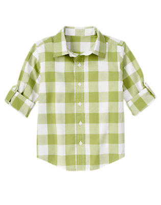 Boys Green Apple Check Roll Cuff Checked Shirt by Gymboree