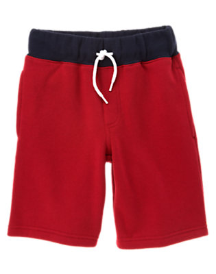 Boys Baseball Red Drawstring Fleece Short by Gymboree