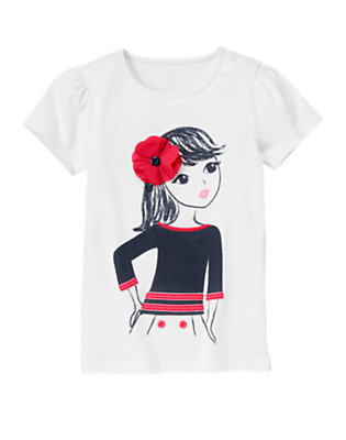 White Corsage Poppy Nautical Girl Tee by Gymboree