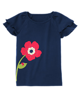 Nautical Navy Gem Poppy Flutter Sleeve Tee by Gymboree