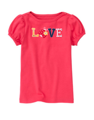 Poppy Pink Gem Ladybug Love Boatneck Tee by Gymboree