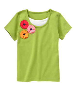 Leaf Green Corsage Poppy Layered Tee by Gymboree