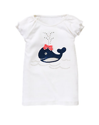White Gem Sequin Whale Tee by Gymboree