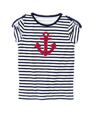 Nautical Navy Stripe Sequin Anchor Stripe Tee by Gymboree