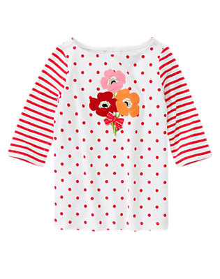 Poppy Pink Dot Bow Poppy Dot Stripe Tee by Gymboree