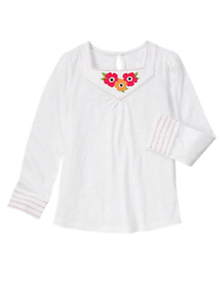 White Poppy Pickstitched Tunic Top by Gymboree