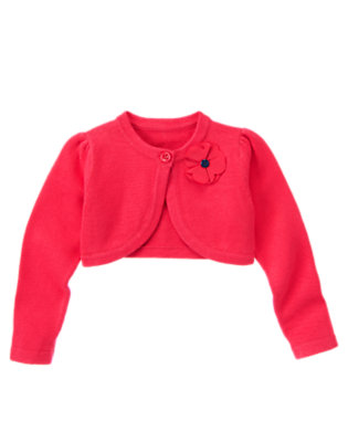 Girls Poppy Pink Corsage Crop Sweater Cardigan by Gymboree